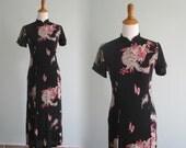 Vintage Dragon Print Black Cheongsam Dress - Sexy 90s Long Rayon Dress - Vintage 1990s Dress S M
