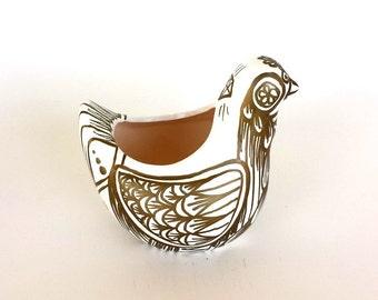 Ceramic Bird Planter Metallic Gold and White Hand Painted Folk Art Vase Tea light Holder Autumn Fall Home Decor - made to order
