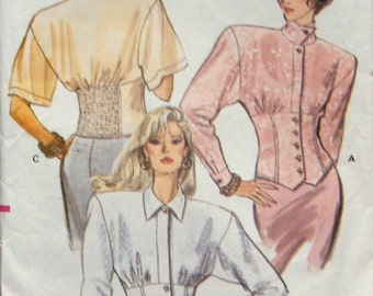 vintage 1988 vogue pattern 7310 misses semi-fitted blouse convertible collar elasticized back inset sz 12-14 cut on size 14