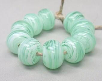White Swirls  - 10 Handmade Lampwork Beads SW 185