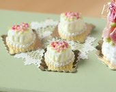 Tiny Heart-Shaped Vanilla Floral Cake - Individual Pastry - 12th Scale Miniature Food (Pink Collection 2016)