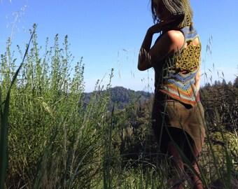 Earth toned Flower of Life hooded crochet vest - pixie vest- festival wear