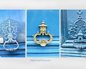 Paris Door Photography, Blue Vintage Paris Door Knockers, Paris Doors Wall Art, Paris Blue Doors Architecture, Paris Note Cards or Prints