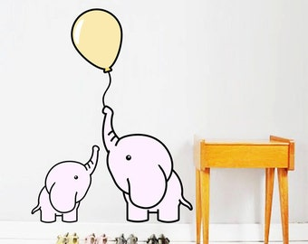 Cute Pink Elephant Playing Balloon Wall Decal