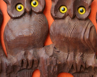 Vintage 1960s/1970s Hand Carved Wood Owl Wall Hanging by Master Wood Carver Larry Martin
