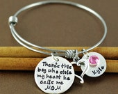 There's this boy who stole my heart Bracelet, Jewelry for Mom, Personalized Bangle Bracelet, Silver Bangle Charm Bracelet, Name Bracelet