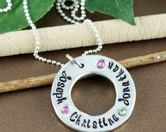 Hand Stamped Mommy Necklace, Birthstone Necklace, Personalized Name Necklace, Gift for Mom, Grandmother's Necklace, Mother's Day Gift