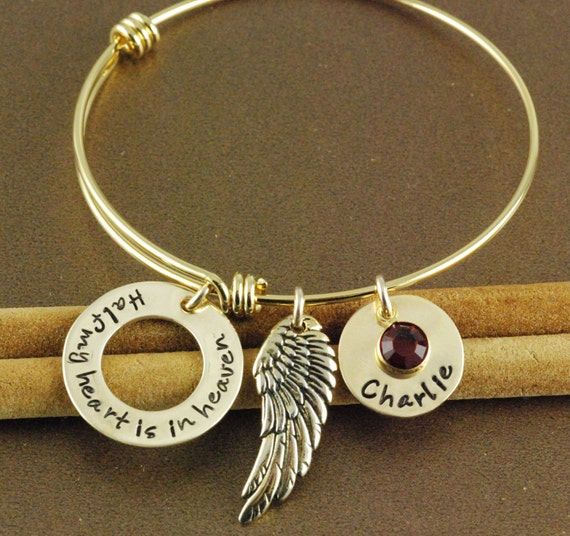 Personalized angel wing bracelet