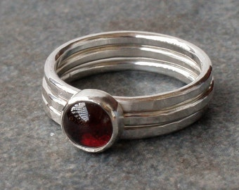Rings, Garnet Rings, Garnet Stacking Ring, Silver Ring, Red Garnet, January Birthstone, Made to Order Birthstone, Made to Order
