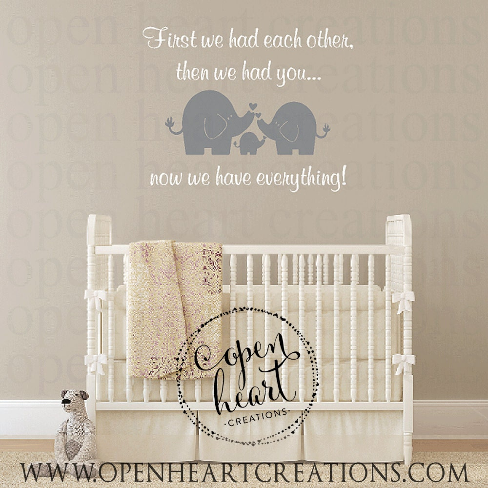 Elephant wall decal for baby nursery and first we had each zoom amipublicfo Images