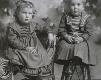 Cute Siblings-Boy-Girl-Fashion-Hair-Chair-Curls-Antique Cabinet Photo-Ashland,OR