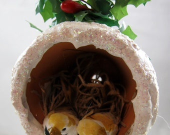 Christmas Birds Nesting in a Flower Pot Ornament 102