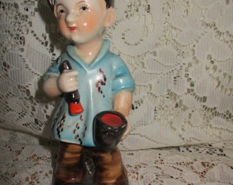 Boy Figurine Standing - Boy Artist Painter - Paint & Paint Brush - Porcelain Boy Painter Figurine Japan