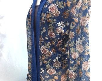 Vintage SHEER Blue FLORAL Open Blouse With Collar / Womens Large