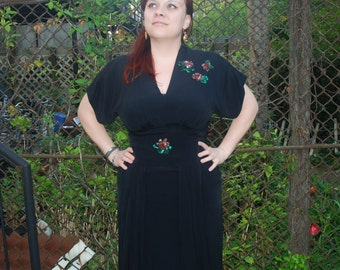 Vintage 1940s Black Party Dress with Pink Sequin Flowers L/XL