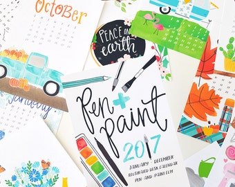 ON SALE 2017 REFILL only 5x7 Mini Calendar, Illustrated, Seasonal, Colorful, Planner, Wall Calendar, Desk Calendar, Illustration, Hand drawn