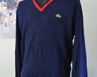 V Neck Sweater by Izod Lacoste Navy Blue Red Classic Golf Boyfriend Preppy LARGE