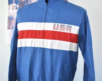 Vintage USA Jacket Faded Blue Windbreaker Red White Coat MEDIUM