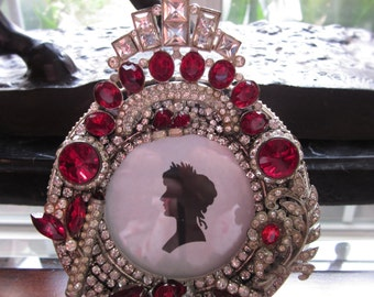 Vintage Rhinestone Jewelry Picture Frame Repurposed Jeweled Red Clear Embellished