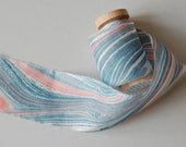 Marbled Silk Ribbon in Navy and Red