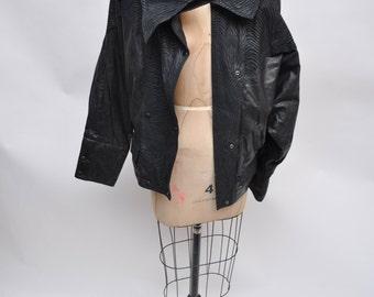 vintage leather jacket womens bomber oversized 1980s batwing 80s