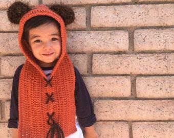 star wars  ewok hoodie hood child toddler crochet hat