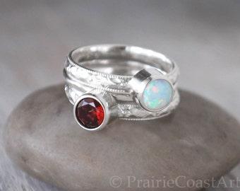 Two Birthstone Ring Set plus Hammered Band - Choose Birthstones - 6mm Gemstones - Sterling Silver Ring Set of 3 rings