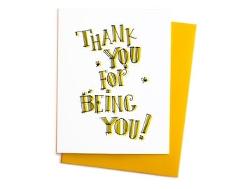 Thank You For Being You, Bumble Bees Greeting Card, Vintage Thank You Note with Handwritten Typography