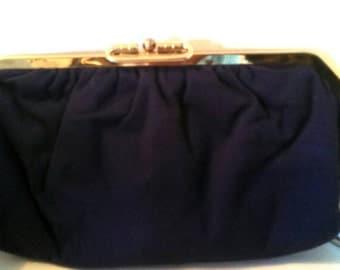 Navy blue vintage clutch purse 1940 - 1950 Mad men Nautical