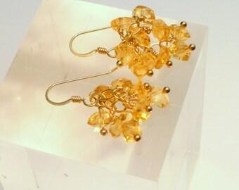 Citrine hand wrapped dangle earrings