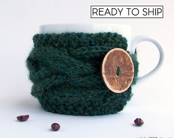 Coffee Cup Sleeve, Coffee Cup Cozy, Coffee Cozy, Coffee Mug Cozy, Coffee Sleeve, Tea Cozy, Mug Sweater, Mug Warmer Hunter Green Coffee Gifts