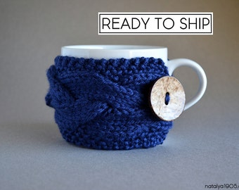 Coffee Cozy, Tea Cozy, Cup Cozy, Mug Cozy, Coffee Sleeve, Coffee Cup Sleeve, Coffee Cup Cozy, Coffee Mug Cozy, Coffee Gifts, Navy Blue