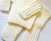 Size 0 to 3 Months Unisex Hand Knitted 2pc Outfit/ Set / Infant Boy Or Girl/ Cream Sweater And Pants/Handmade Baby Clothing