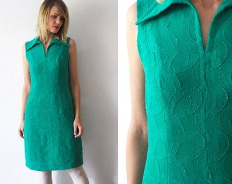 60s dress. jade green dress. sleeveless wool dress. emerald shift dress - small to medium