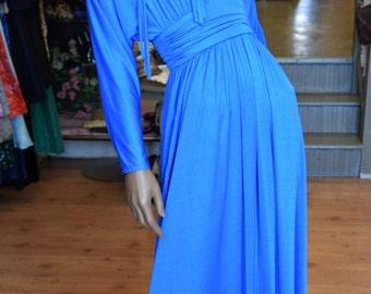 1970's Royal Blue Goddess Gown