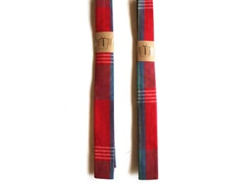 Skinny Ties for 8-10 year old boys Red Plaid with a hint of blue