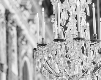 Paris Photography, Versailles Chandelier, Black and White Paris Art Print, French Wall Decor, Large Wall Art
