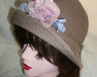 1920s Flapper Style Cloche Hat Taupe Lavender Silk Flowers Orig Design One Size Fits Most