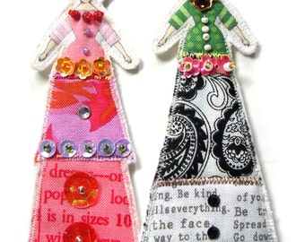 Rosebud Lady Ornaments Set of Two Tiny Doll Decorations Handmade Gift Decorations Flat Fabric Tiny Dolls Set Of Two