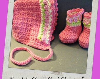 Tulips Baby Bonnet and Booties pdf761 instructional digital crochet pattern only