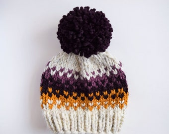 Purple Fair Isle Hat