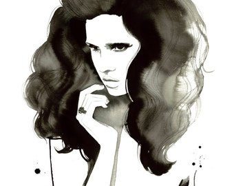 Big Hair, Don't Care. Print from original watercolor and pen fashion illustration by Jessica Durrant.