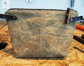 Field Tan Waxed Canvas, Cordura, and Leather Zipper Pouch