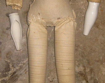 Antique Hand Made Cloth Doll Body For A China Head