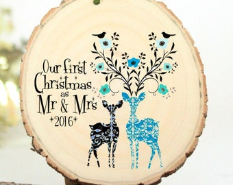 Boxing Week Sale - 2016 Ornament - Our First Christmas as Mr and Mrs - Gifts for Newlyweds - Wedding Gift - Customized Christmas Ornament