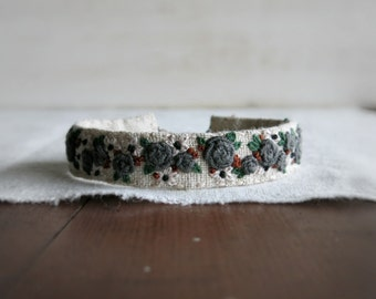 Fiber Art Cuff Bracelet - Grey and Cream Flowers on Natural Linen - Floral Cuff Bracelet