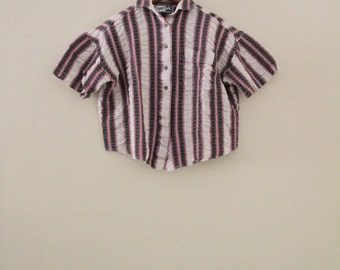 1990 Striped Cropped Blouse