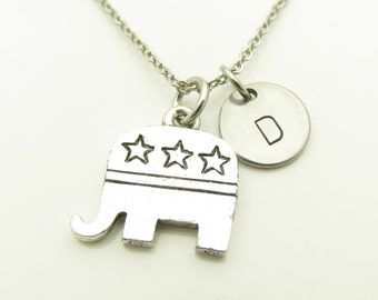 Republican Elephant Necklace, Republican Necklace, Personalized Initial Necklace, Political Party Necklace, Silver Republican Elephant Y273