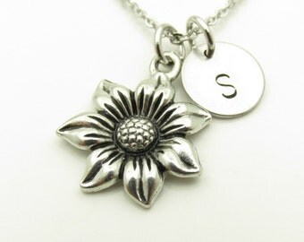 Flower Necklace, Antique Silver Flower, Garden Themed Jewelry, Flower Charm, Seven Petaled Flower, Personalized, Monogram Initial Y379