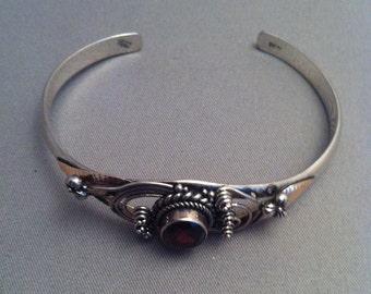 Sterling Silver Garnet Cuff Bracelet, Tribal Sterling Garnet Bracelet, Beautiful Garnet Bracelets, Delicate Garnet 925 Bracelet,**USA ONLY**